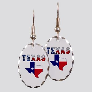 Flag Map With Texas Earring Oval Charm