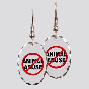 Anti / No Animal Abuse Earring Oval Charm