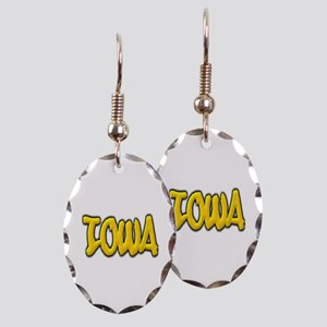 Iowa Graffiti Earring Oval Charm