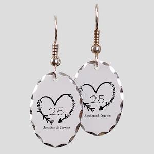 Custom Anniversary Doodle Heart Earring Oval Charm