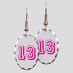 13 Pink Birthday Earring Oval Charm