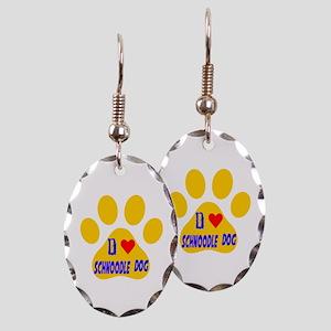 I Love Schnoodle Dog Earring Oval Charm