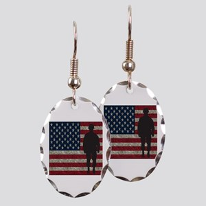 Usflag Soldier Earring Oval Charm