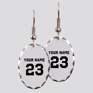 Customize sports jersey number Earring Oval Charm