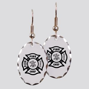 Fire Chief Earring Oval Charm
