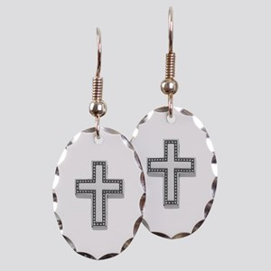 Silver Cross/Christian Earring Oval Charm