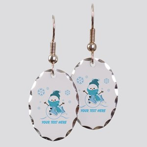 Cute Personalized Snowman Earring Oval Charm