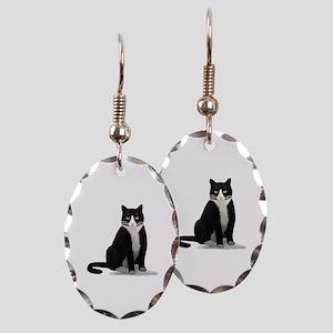 Black and White Tuxedo Cat Earring Oval Charm