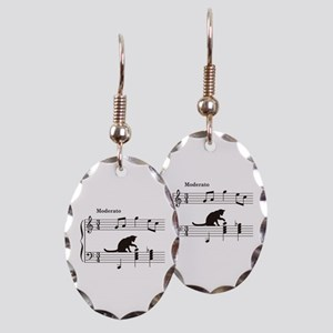 Cat Toying with Note v.2 Earring Oval Charm
