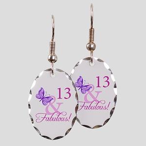 Fabulous 13th Birthday Earring Oval Charm