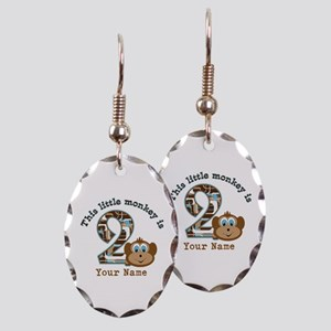 2nd Birthday Monkey Personalized Earring Oval Char