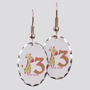 3rd Birthday Pink Giraffe Personalized Earring Ova