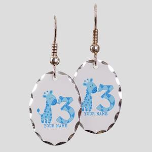Blue Giraffe 3rd Birthday Personalized Earring Ova