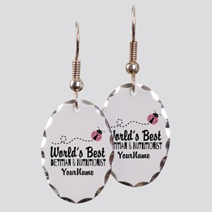 World's Best Dietitian Earring Oval Charm