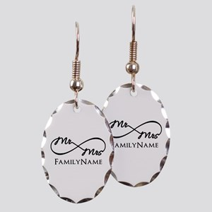 Custom Infinity Mr. and Mrs. Earring Oval Charm