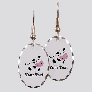 Personalizable Black White Cow Earring