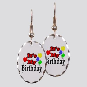 Its My Birthday Earring Oval Charm