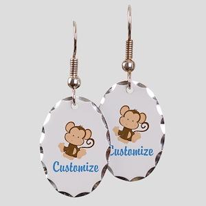 Custom Monkey Earring Oval Charm