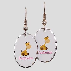 Custom Baby Giraffe Earring Oval Charm