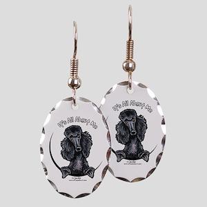 Black Standard Poodle IAAM Earring Oval Charm