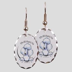 White Standard Poodle IAAM Earring Oval Charm