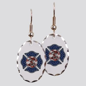 Firefighter USA Earring Oval Charm
