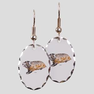 Badger Animal Earring Oval Charm