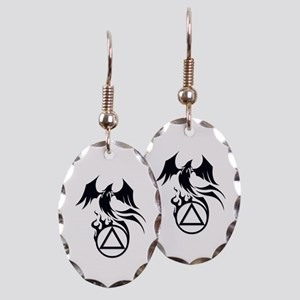 A.A. Logo Phoenix B&W - Earring Oval Charm