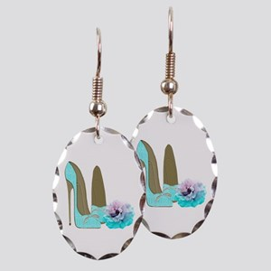 Turquoise Lace Stilettos and Rose Art Earring