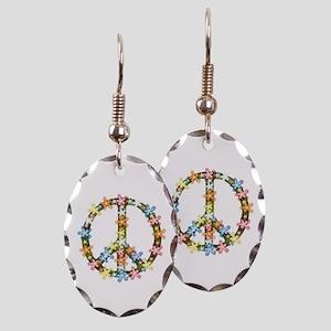 Peace Flowers Earring Oval Charm