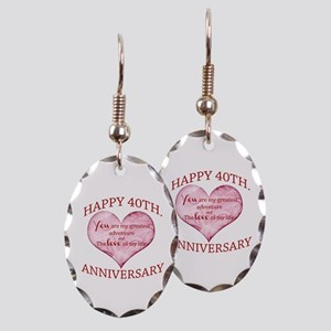 40th. Anniversary Earring Oval Charm