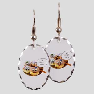 Chanukah Sameach Donuts Earring Oval Charm