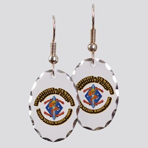 1st Bn - 4th Marines with Text Earring Oval Charm