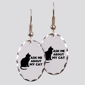 Ask Me About My Cat Earring Oval Charm