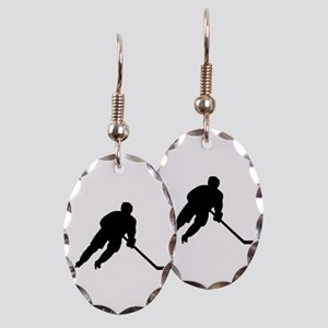 Hockey player Earring Oval Charm