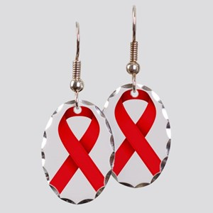 Red Ribbon Earring Oval Charm