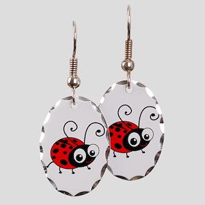 Cute Ladybug Earring Oval Charm