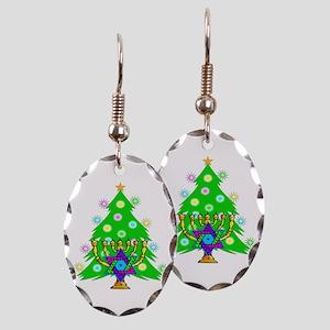 Christmas Hanukkah Interfaith Earring Oval Charm