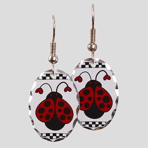 Ladybug Bug Earring Oval Charm
