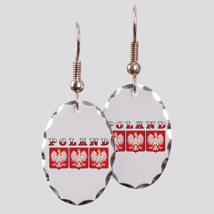 Poland Flag Eagle Shields Earring Oval Charm