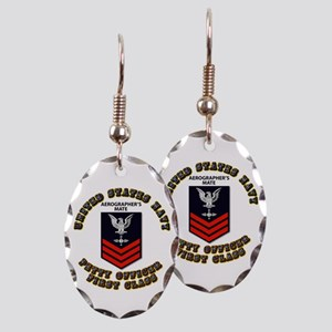 US Navy - Rank - AG - PO1 with Text Earring Oval C