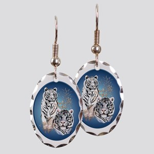 Two White Tigers Oval Trans Earring Oval Charm