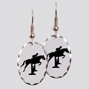 Hunter Jumper Over Fences Earring Oval Charm