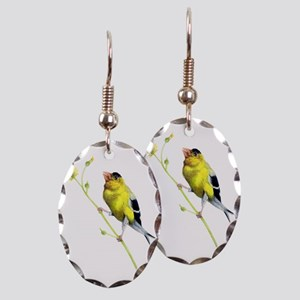 Yellow Finch - Get a Grip - Art Earring Oval Charm