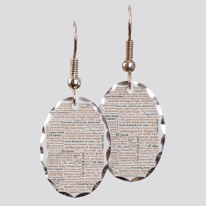Shakespeare Quotes Earring Oval Charm