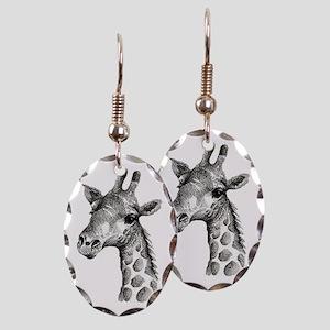Large Giraffe Inked Earring Oval Charm