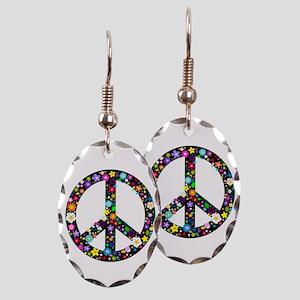 Hippie Flowery Peace Sign Earring Oval Charm