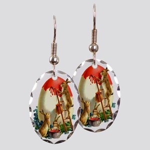 Easter rabbits painting Earring Oval Charm