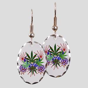 Marijuana Art Earring Oval Charm