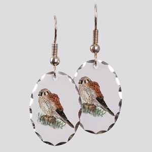 Watercolor Kestrel Falcon Bird Earring Oval Charm